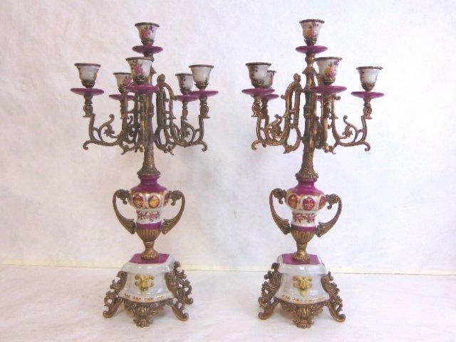 Pair of Victorian Venetian Porcelain Bronze Candelabras