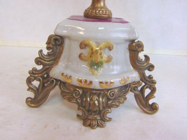 Pair of Victorian Venetian Porcelain Bronze Candelabras - 2