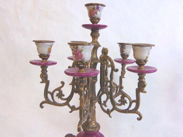 Pair of Victorian Venetian Porcelain Bronze Candelabras - 4