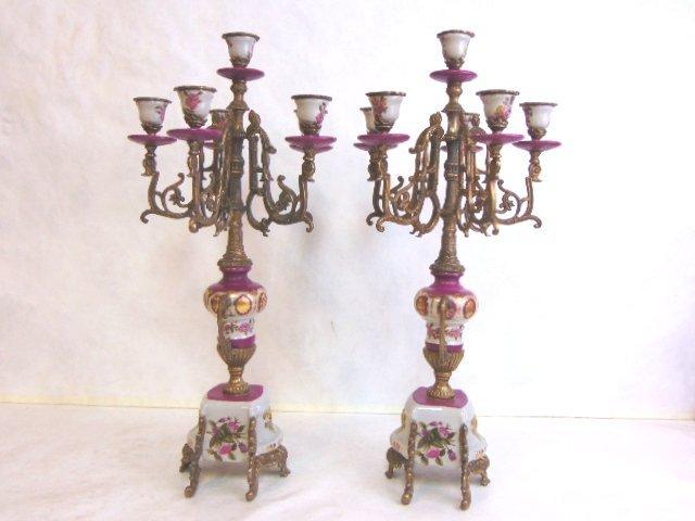 Pair of Victorian Venetian Porcelain Bronze Candelabras - 5
