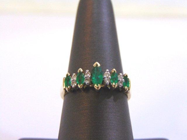 Womens 14K Yellow Gold Ring w/ Emeralds & Diamonds