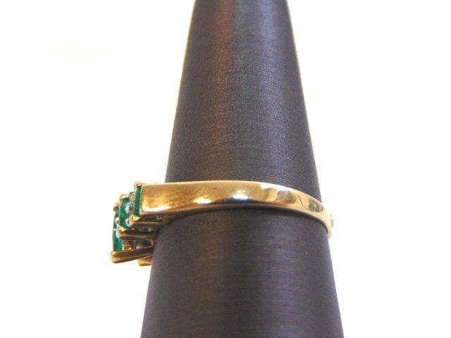 Womens 14K Yellow Gold Ring w/ Emeralds & Diamonds - 3