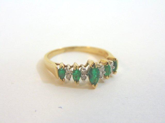 Womens 14K Yellow Gold Ring w/ Emeralds & Diamonds - 5