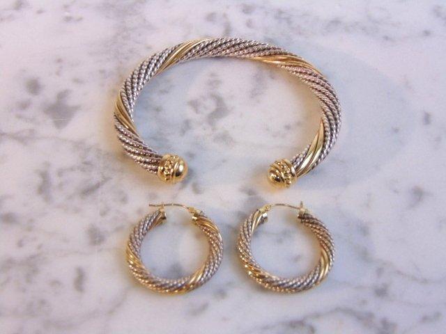 Sterling Silver & 14k Gold Earring Bracelet Set