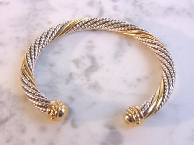 Sterling Silver & 14k Gold Earring Bracelet Set - 2