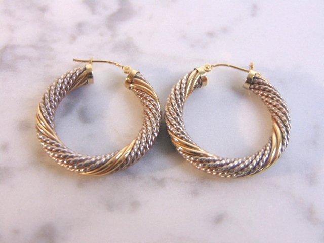 Sterling Silver & 14k Gold Earring Bracelet Set - 6