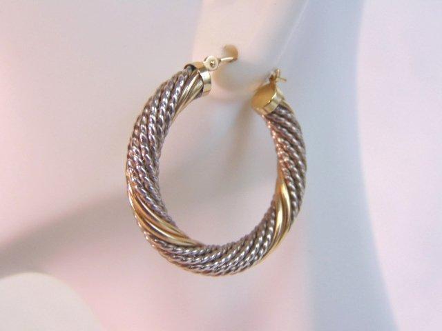 Sterling Silver & 14k Gold Earring Bracelet Set - 7