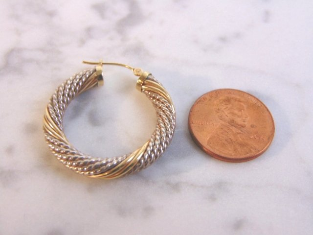Sterling Silver & 14k Gold Earring Bracelet Set - 8