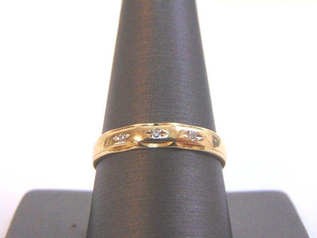 Mens Vintage 14K Gold Wedding Band Ring w/ Diamonds