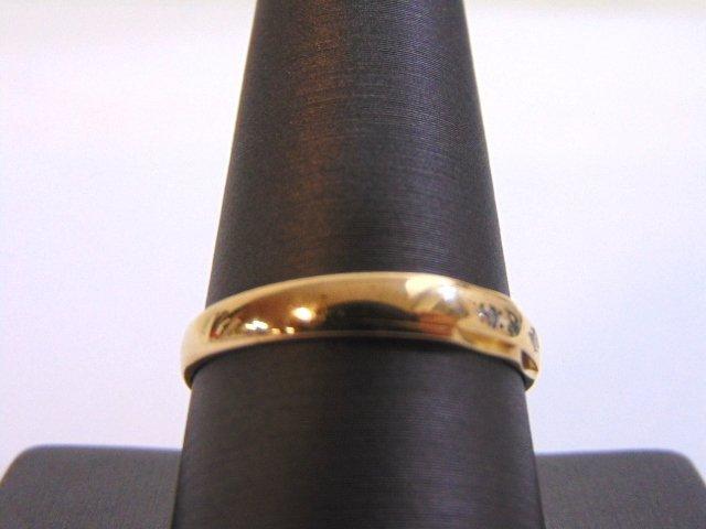 Mens Vintage 14K Gold Wedding Band Ring w/ Diamonds - 2