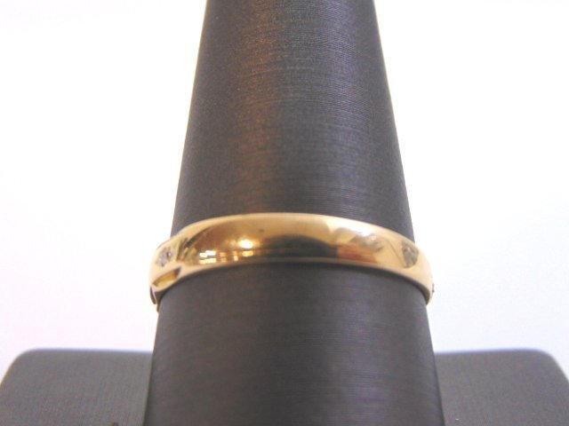 Mens Vintage 14K Gold Wedding Band Ring w/ Diamonds - 3