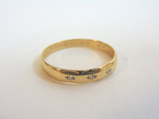 Mens Vintage 14K Gold Wedding Band Ring w/ Diamonds - 5