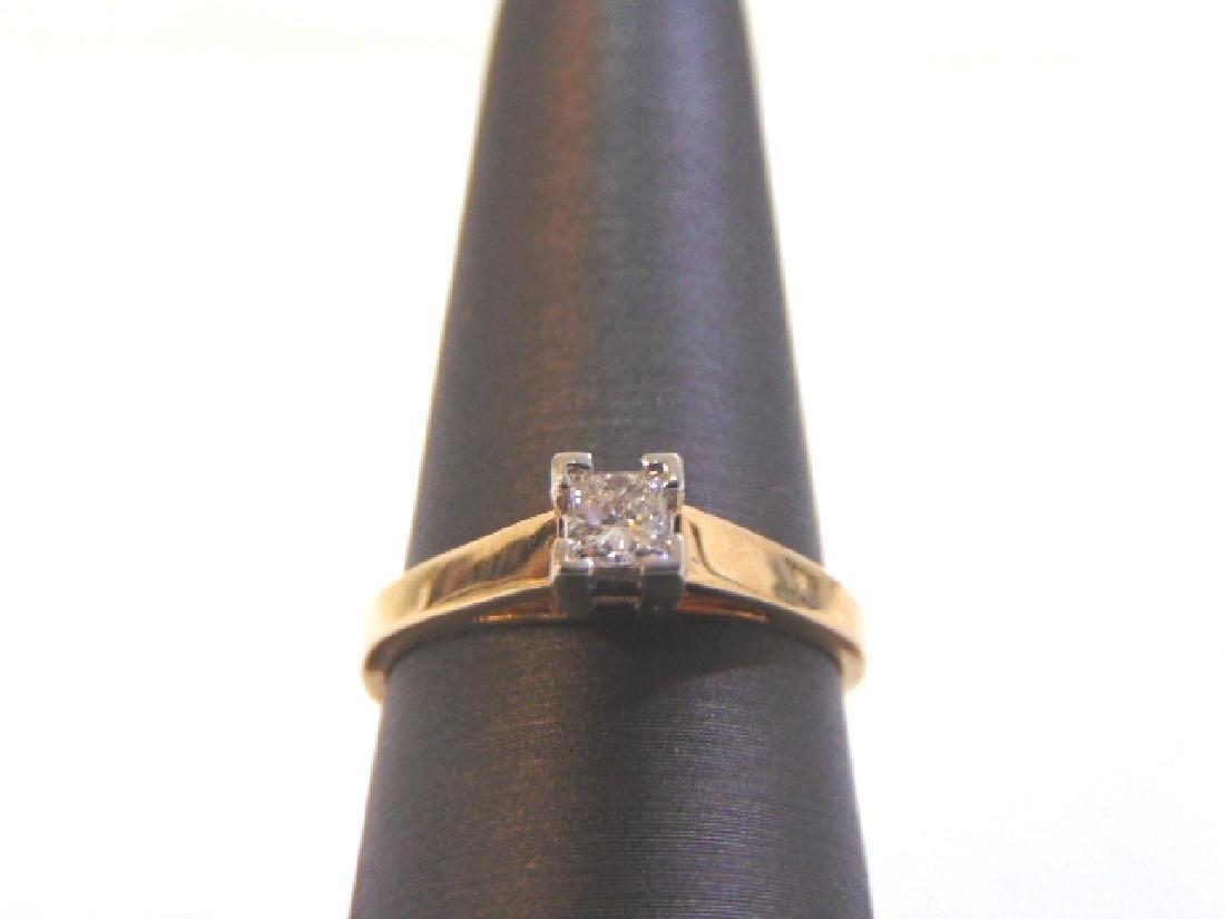 Womens Vintage 14K Yellow & White Gold Diamond Ring
