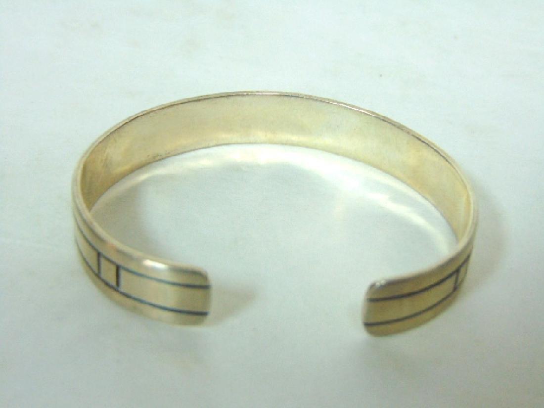Womens Vintage Estate Sterling Silver Cuff Bracelet - 4