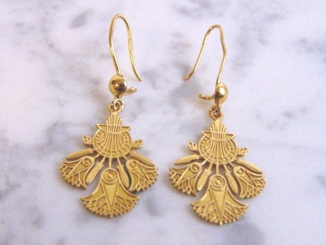 Womens Vintage Estate 14k Gold Lotus Flower Earrings