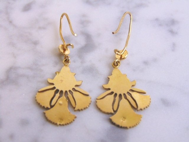 Womens Vintage Estate 14k Gold Lotus Flower Earrings - 2