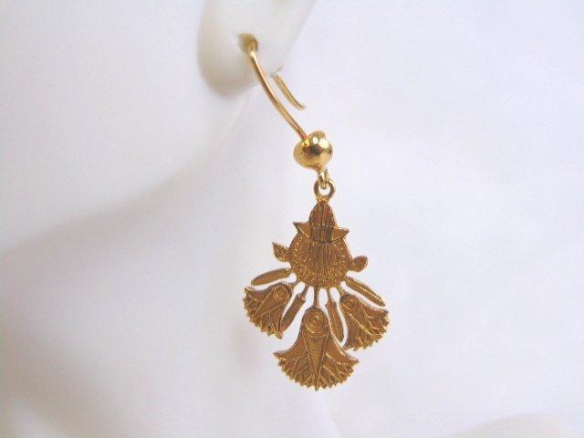 Womens Vintage Estate 14k Gold Lotus Flower Earrings - 3
