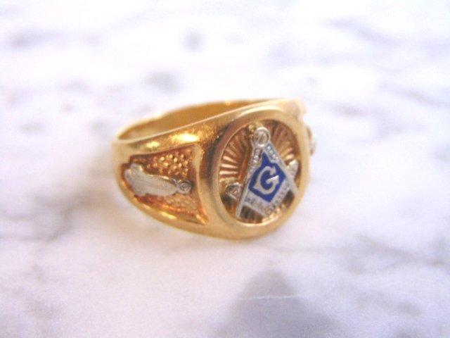 Mens Vintage Estate 10k Yellow Gold Free Masons Ring