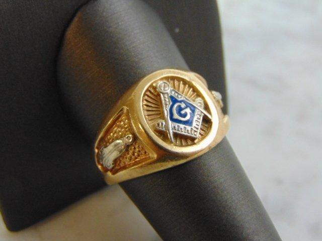 Mens Vintage Estate 10k Yellow Gold Free Masons Ring - 2