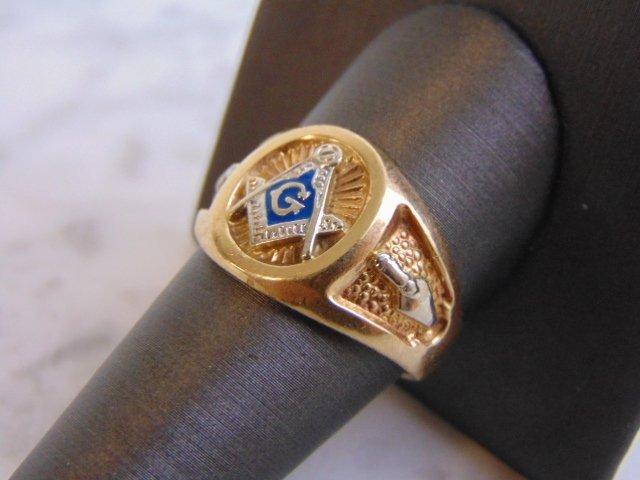 Mens Vintage Estate 10k Yellow Gold Free Masons Ring - 3