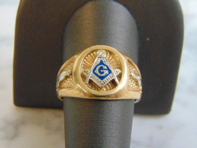 Mens Vintage Estate 10k Yellow Gold Free Masons Ring - 4