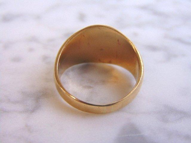 Mens Vintage Estate 10k Yellow Gold Free Masons Ring - 5