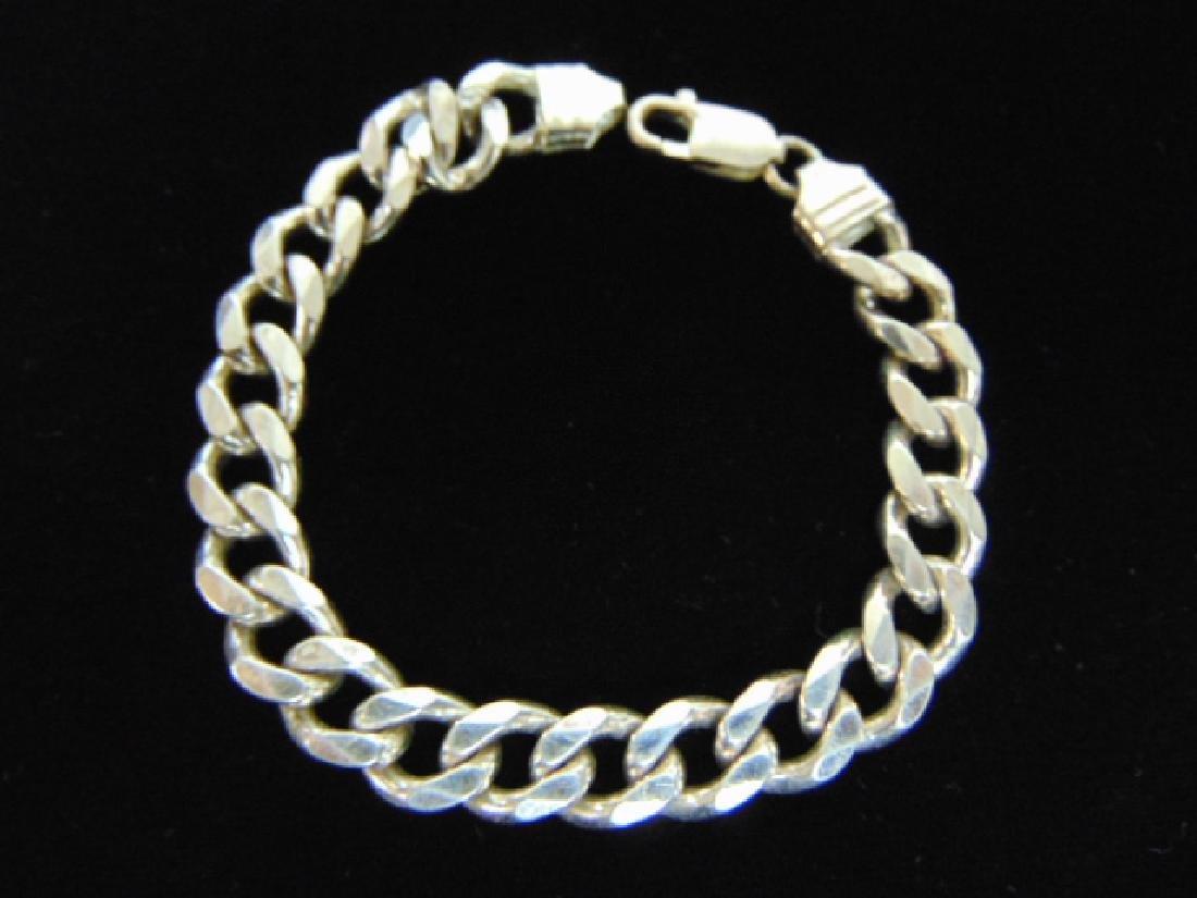 Vintage Estate Sterling Silver Chain Link Bracelet - 2