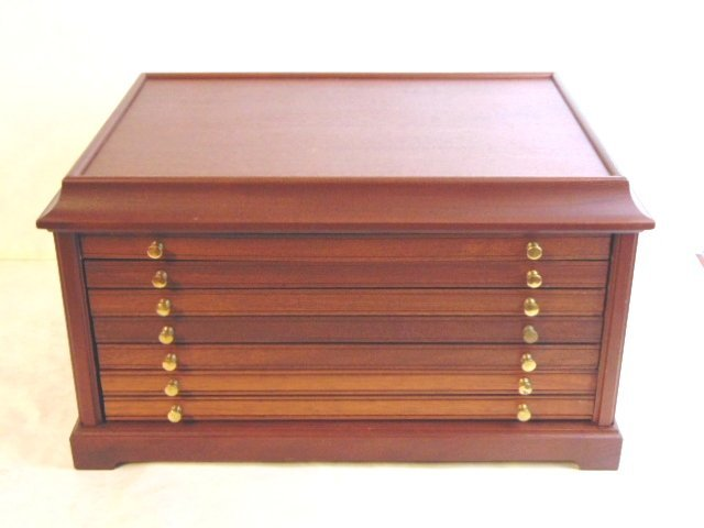 MAHOGANY COIN CASE CHEST FOR 100 SILVER DOLLARS