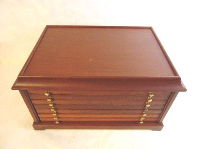 MAHOGANY COIN CASE CHEST FOR 100 SILVER DOLLARS - 2