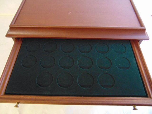 MAHOGANY COIN CASE CHEST FOR 100 SILVER DOLLARS - 8