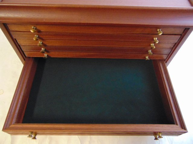 MAHOGANY COIN CASE CHEST FOR 100 SILVER DOLLARS - 9