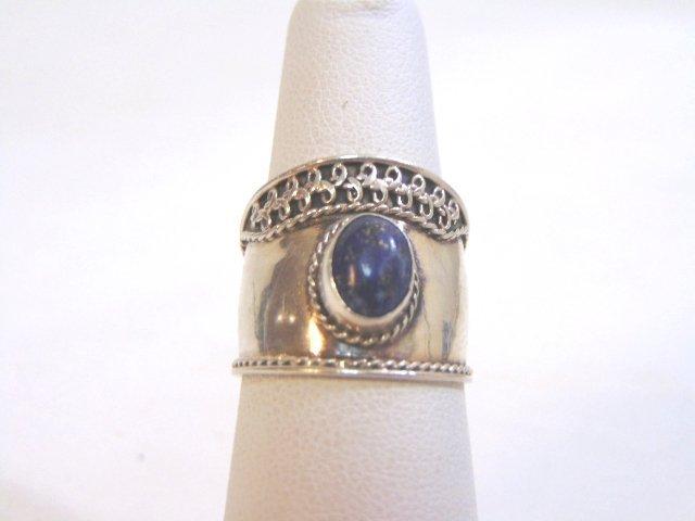 Sterling Silver Lapis Lazuli Cigar Band Ring
