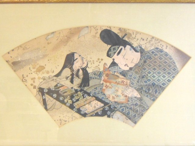 VINTAGE CHINESE JAPANESE WATERCOLOR SCENE PAINTING - 2