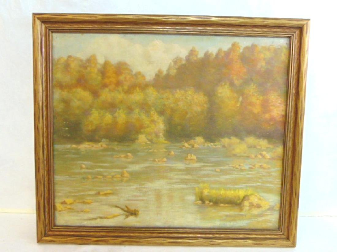 Antique River Scene Oil Painting Listed Artist Dovener