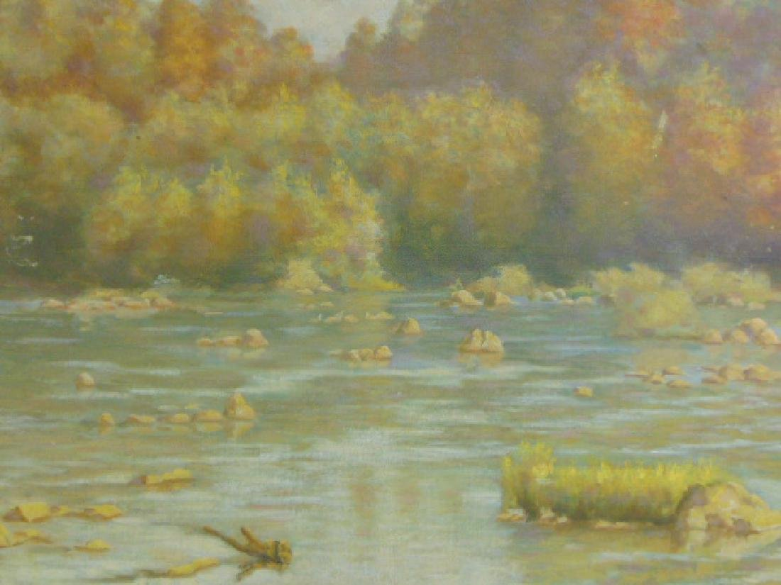 Antique River Scene Oil Painting Listed Artist Dovener - 2