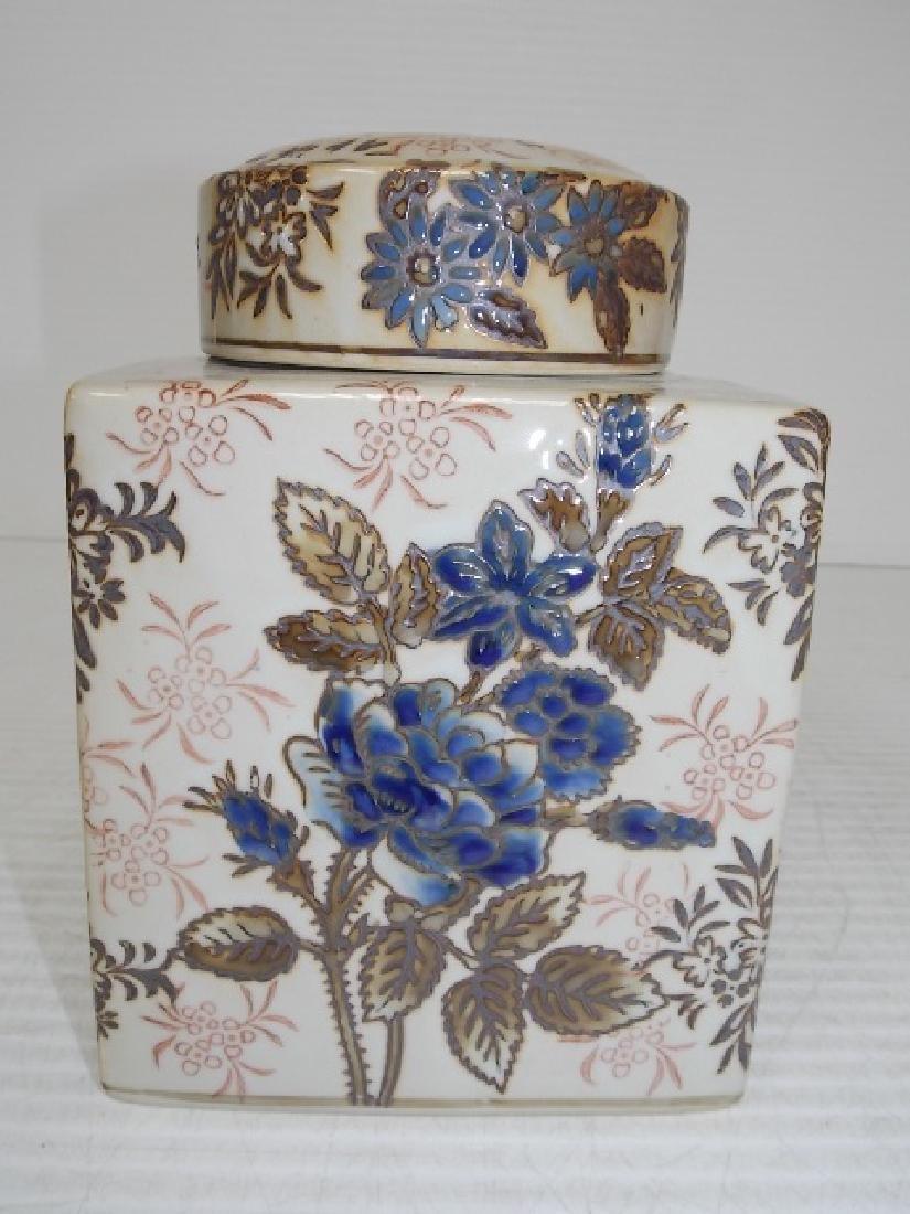 CHINESE PORCELAIN FLORAL GINGER JAR TEA CADDY