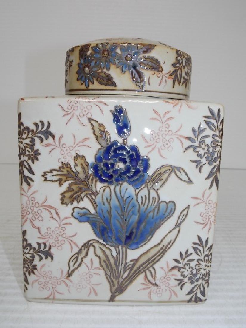 CHINESE PORCELAIN FLORAL GINGER JAR TEA CADDY - 2