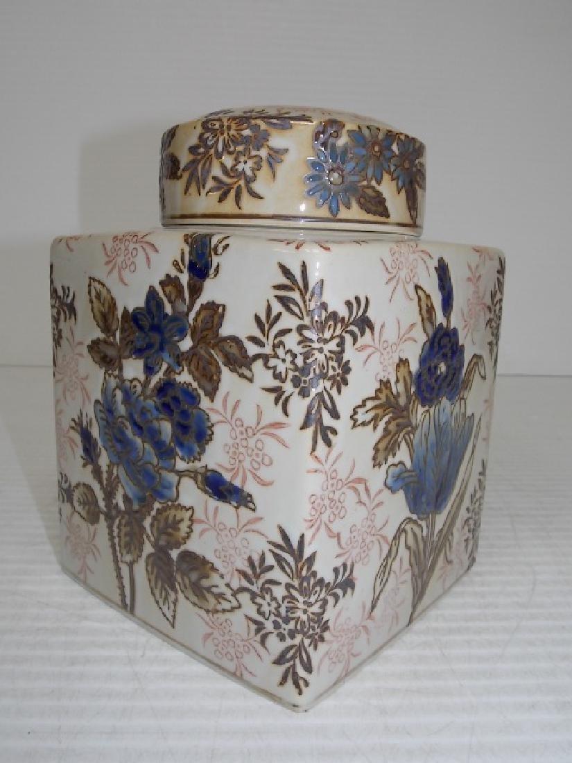 CHINESE PORCELAIN FLORAL GINGER JAR TEA CADDY - 3