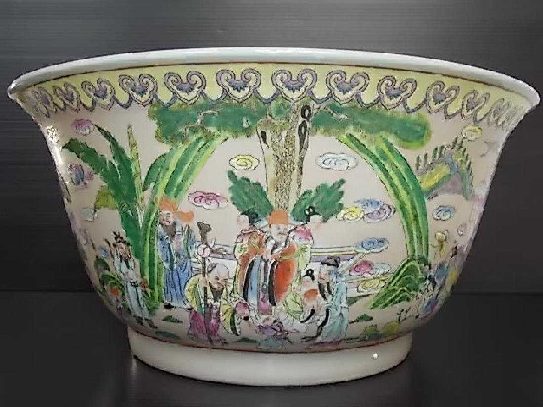 HUGE HAND PAINTED CHINESE PORCELAIN PUNCH BOWL - 2