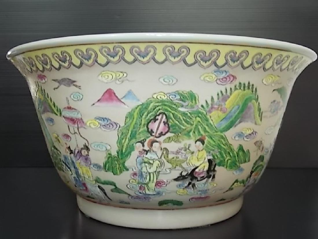 HUGE HAND PAINTED CHINESE PORCELAIN PUNCH BOWL - 4