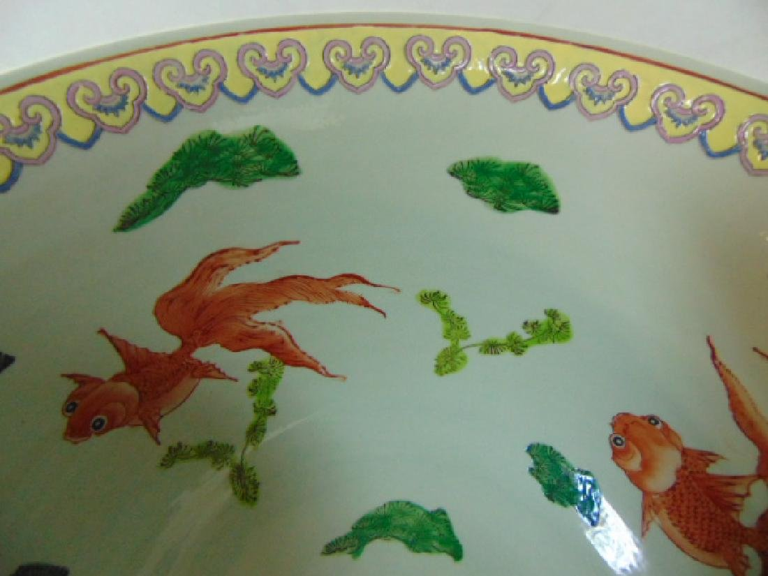 HUGE HAND PAINTED CHINESE PORCELAIN PUNCH BOWL - 6