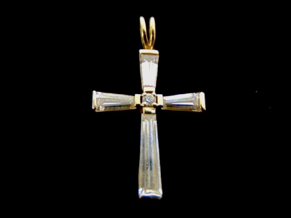 Vintage Estate 14K Yellow Gold Religious Cross Pendant