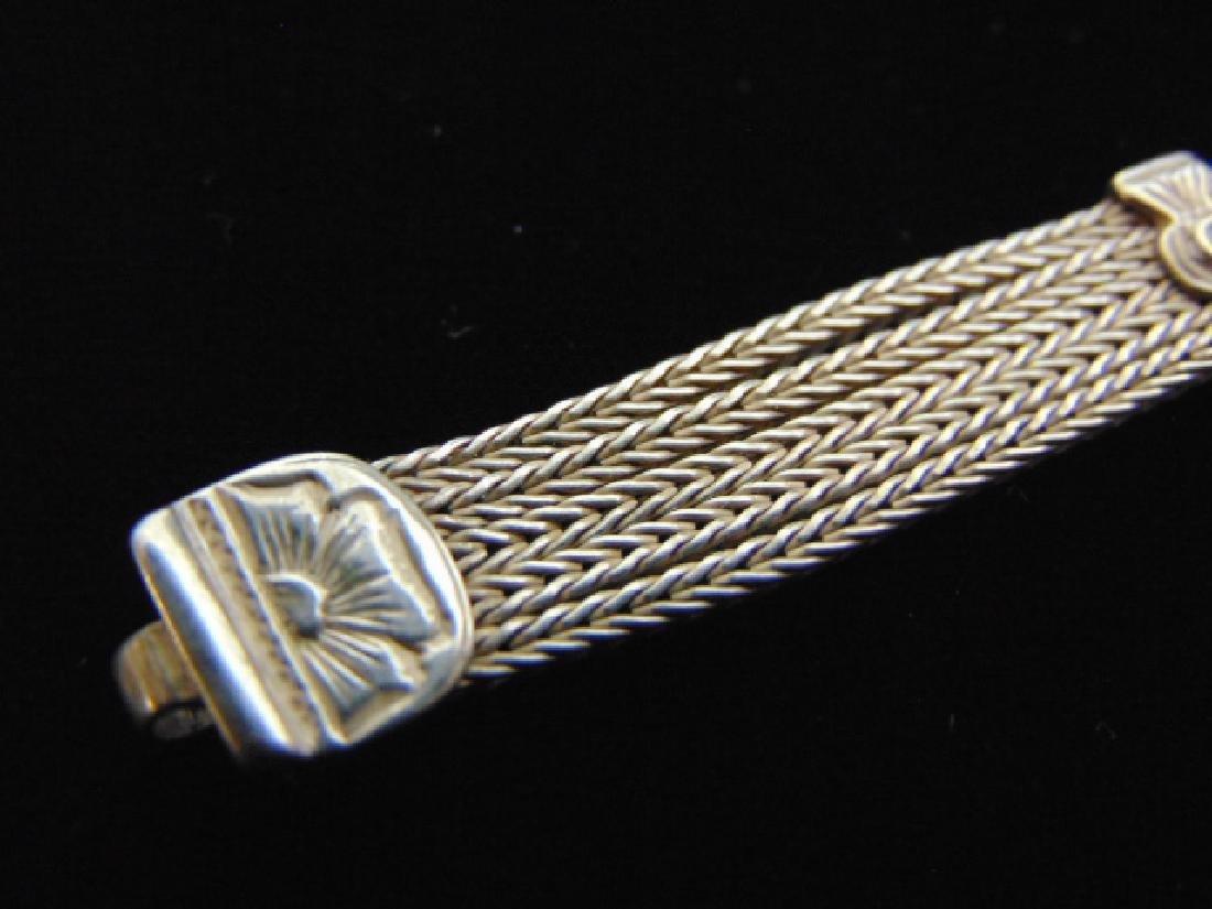 Vintage Estate Sterling Silver Baltic Amber Bracelet - 3