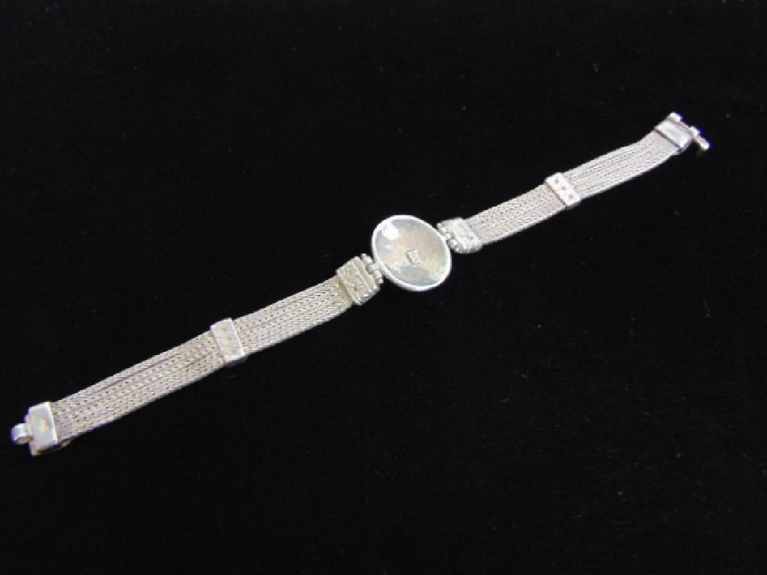 Vintage Estate Sterling Silver Baltic Amber Bracelet - 5