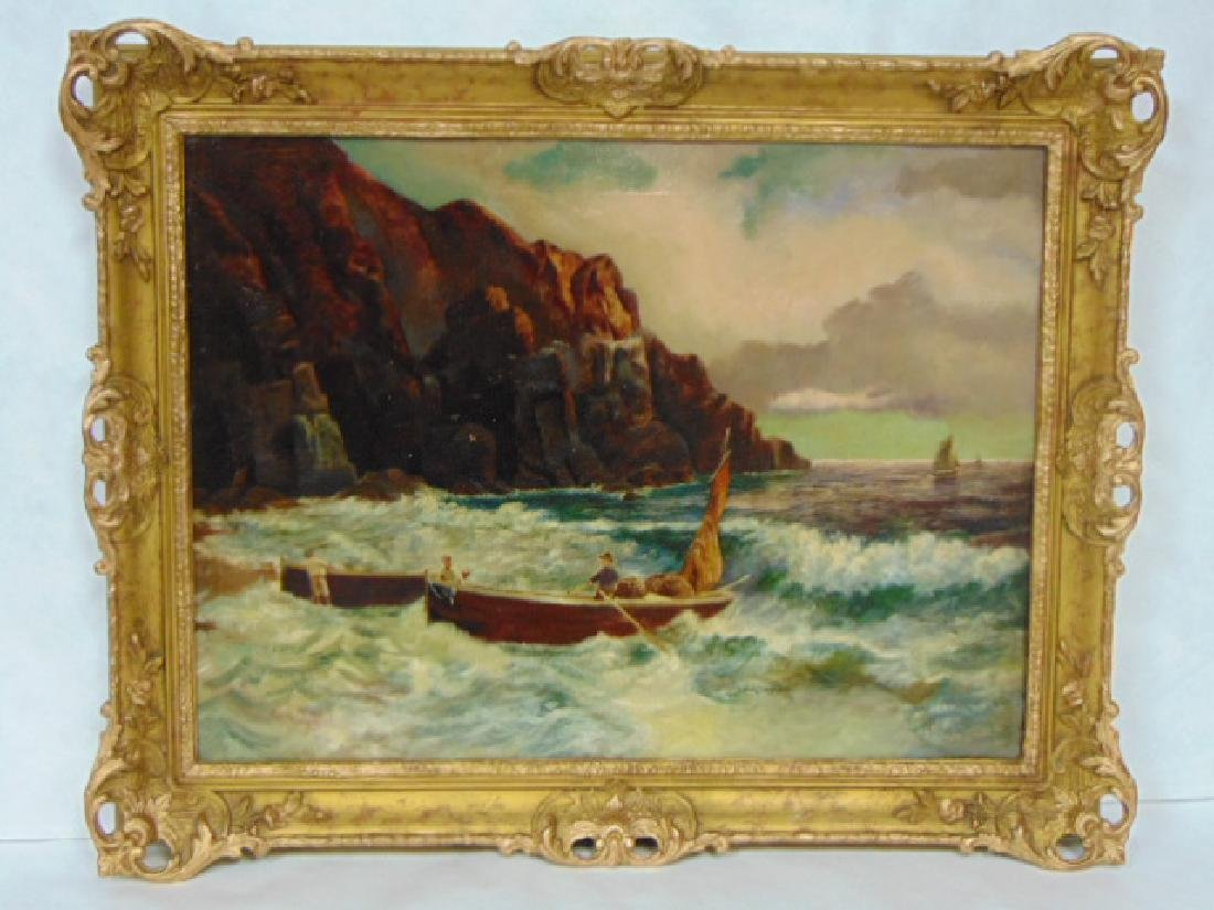 ANTIQUE ARTIST SIGNED SEASCAPE OIL PAINTING ON CANVAS