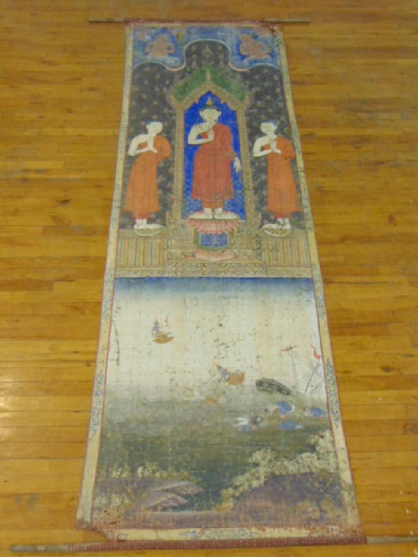 RARE ANTIQUE ASIAN HAND PAINTED SILK HANGING BUDDHA
