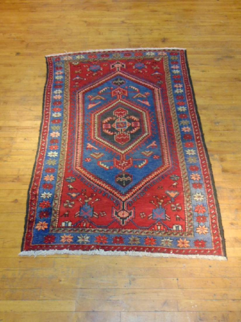 SEMI ANTIQUE HANDMADE WOOL PERSIAN QASHQAI AREA RUG