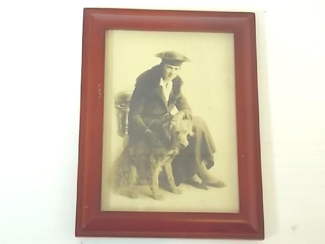 VINTAGE ANTIQUE BLACK & WHITE PHOTO WOMAN W/ DOG