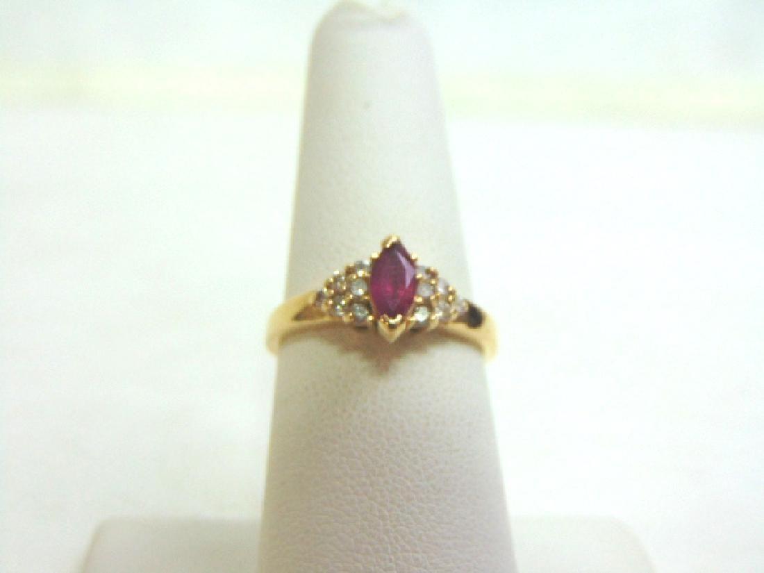 Womens Vintage Estate 14K Gold Diamond & Rodolite 2.64g