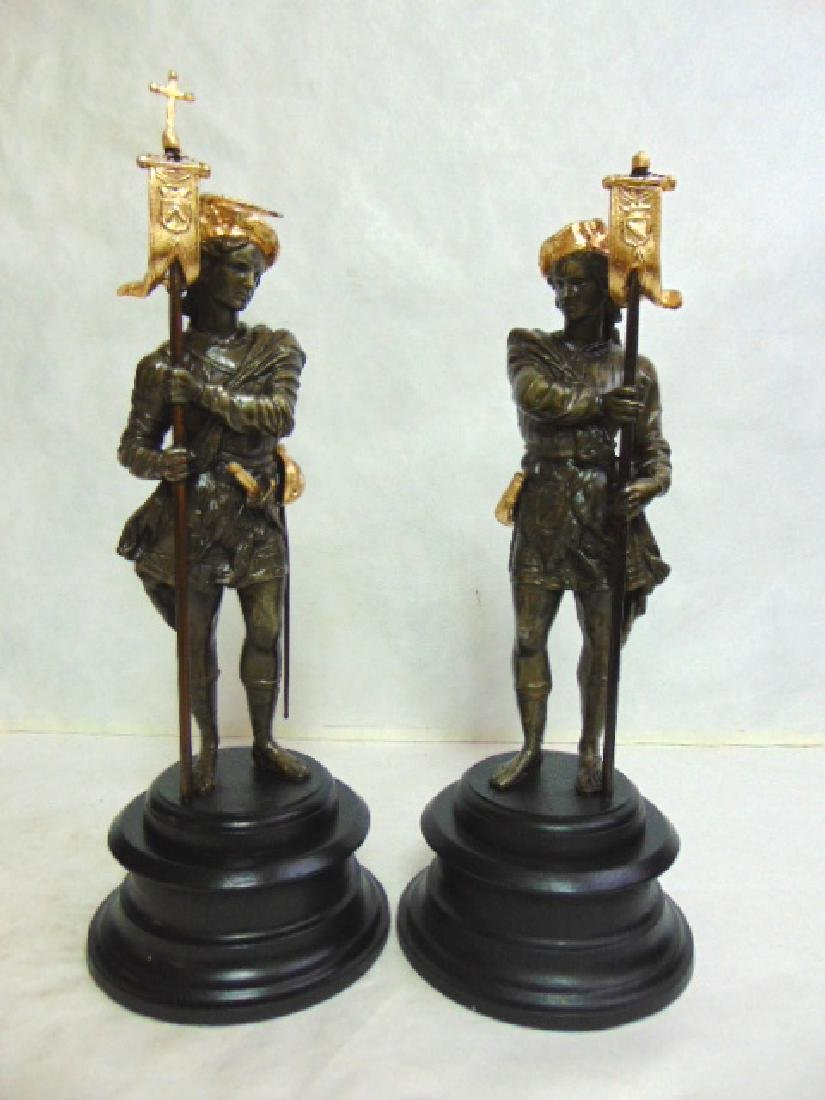 PR ANTIQUE METAL STATUES OF FRENCH CAVALIERS